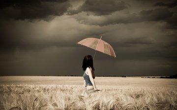clouds, storm, photo, background, field, umbrella, aurela skandaj, photographer david olkarny