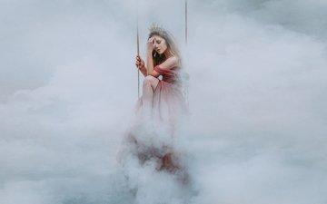 облака, девушка, платье, туман, корона, качели, принцесса