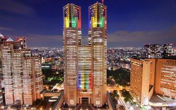 небо, облака, ночь, огни, япония, небоскребы, мегаполис, дома, подсветка, здания, синее, освещение, японии, токио, столица