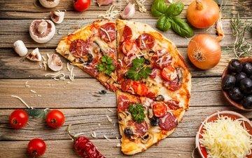 грибы, сыр, колбаса, помидоры, помидор, оливки, перец, пицца, начинка, брынза, быстрое питание, боровики
