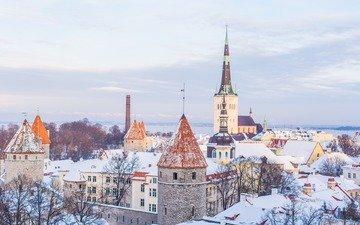снег, зима, замок, город, церковь, городской пейзаж, эстония, таллин, ilya orehov