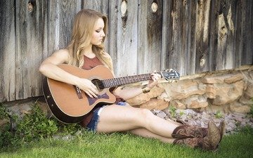 grass, girl, blonde, guitar, music