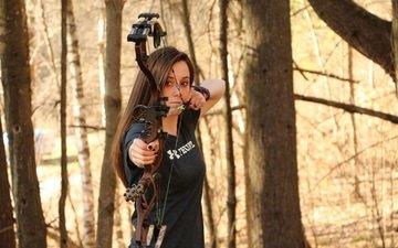лес, лук, лучница, стрела, спорт, женщина, стрельба из лука