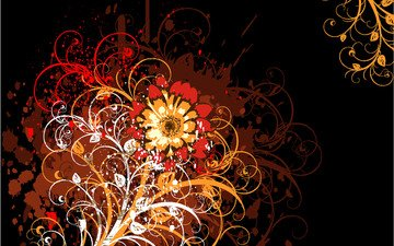 abstraction, flower, patterns, black background