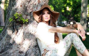 обои, украшения, лето, модель, нежность, кольца, макияж, шляпа, клара алонсо