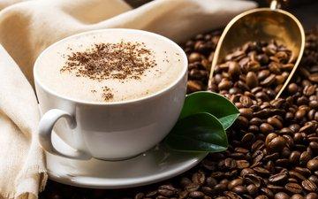 зерна, кофе, чашка, напитки, кофейные, молоко, кубок
