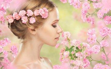 цветы, цветение, девушка, весна, сакура, нежность, макияж, венок, деревь, блонд, весенние
