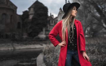 девушка, портрет, модель, красное, пальто, мэри джейн, горохов