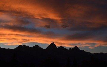закат, гора, апельсин, ландшафт