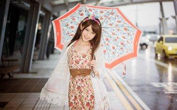 дорога, девушка, платье, улыбка, дождь, зонт, азиатка, автодорога, азиат