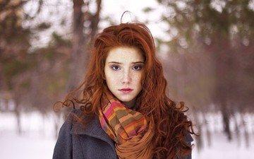 природа, девушка, портрет, рыжая
