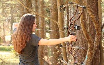 лес, лук, стрела, спорт, женщина, стрельба из лука, лучницы