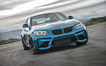 road, blue, coupe, bmw, m2, f87