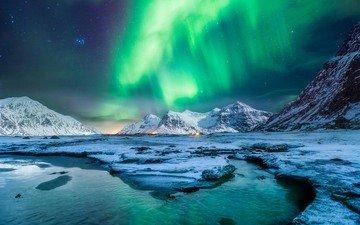 пейзаж, северное сияние, aurora borealis, лофотенские острова