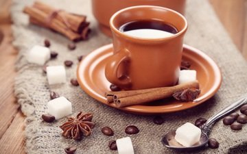 корица, кофе, блюдце, чашка, сахар, ваниль