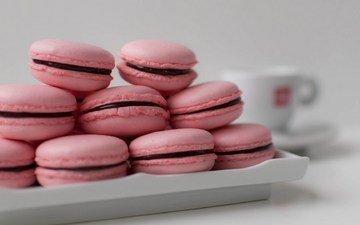 сладкое, тарелка, печенье, розовое, макарон, макарун