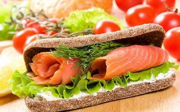 зелень, бутерброд, булки, хлеб, рыба, помидоры, сэндвич, помидорами, быстрое питание, красная рыба