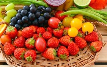 виноград, фрукты, клубника, лимон, лук, лайм, овощи, фасоль, ягодыы