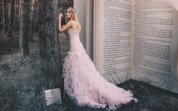 trees, forest, girl, dress, trunks, crown, book, princess, fabulously