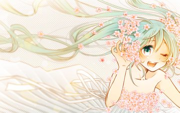flowers, art, girl, smile, joy, anime, vocaloid, sakura, orihara julee, hatsune miku