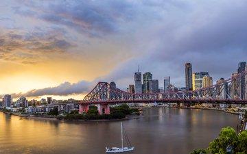 река, рассвет, мост, дома, яхта, австралия, китайский квартал, штат квинсленд