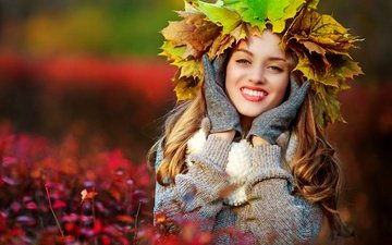 девушка, осень, клен, женщина, опадают, осен, листья, gевочка, осенние листья