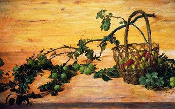 картина, масло, холст, яблони, юрий арсенюк, (род. 1955), сломанная ветка