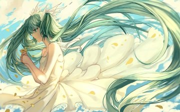 art, girl, dress, flower, petals, profile, vocaloid, the wind, stoms, hatsune miku