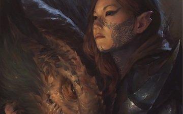 арт, девушка, фантастика, взгляд, дракон, тату