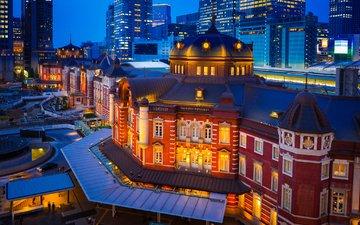 japan, night city, building, tokyo, tokyo station, marunouchi