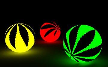 balls, 3d, neon, weeds