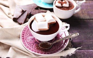 шоколад, зефир, в шоколаде, кубок, какао, горячая, маршмэллоу