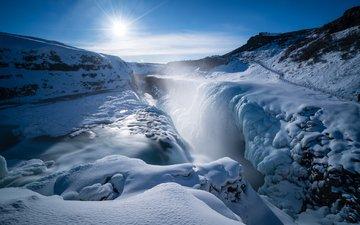 зима, водопад, исландия, гюдльфосс