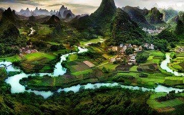 река, горы, китай, ландшафт, гуилинь