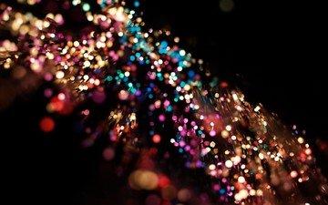огни, цвет, размытость, блестки, мишура, боке