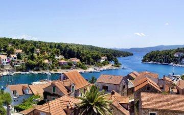 деревья, река, яхты, лодки, побережье, дома, катера, хорватия, hvar