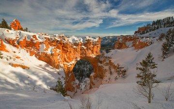 горы, скалы, снег, зима, сша, юта, арка, брайс каньон национальный парк