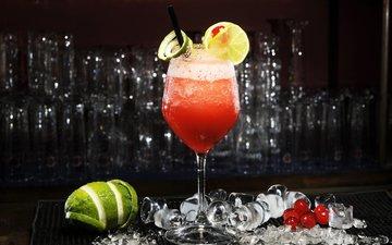 лёд, лимон, лайм, коктейль, алкоголь, лимоны
