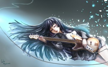 art, girl, guitar, paint, magic, akiyama mio, weixvi, cajon!