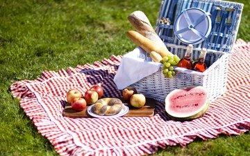 виноград, еда, фрукты, яблоки, арбуз, хлеб, пикник