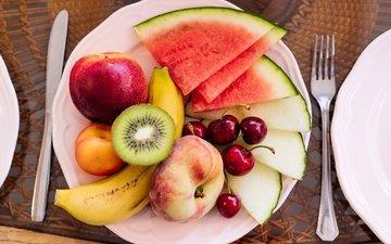 фрукты, черешня, арбуз, киви, персик, банан, дыня, нектарин