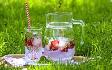 grass, drink, strawberry, ice, glass, pitcher, lemonade