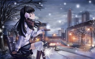 snow, winter, anime, headphones, bench, gokou ruri, ore no imouto ga konnani kawaii wake ga nai, anime girl