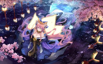 art, trees, lights, water, girl, reflection, petals, anime, sakura, kimono, fate stay night, caster, bzerox