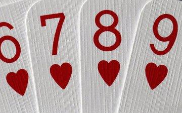 макро, карты, сердечки, 7, 9, 8, 6