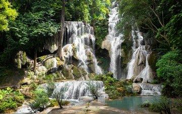 деревья, камни, зелень, лес, скала, кусты, водопад, мох, тропики, джунгли, лаос, kuang si falls