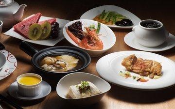 арбуз, овощи, мясо, киви, десерт, креветка, суп, ассорти, блюда