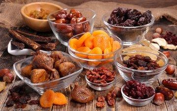 орехи, плоды, персики, изюм, гайки, курага, сухофрукты, финики, damson, raisin, чернослив