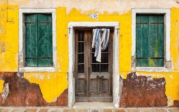 дверь, дом, италия, окна, бурано