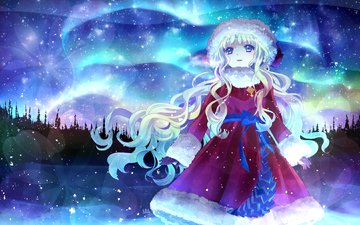 art, snow, new year, forest, girl, stars, look, northern lights, coat, hira taira